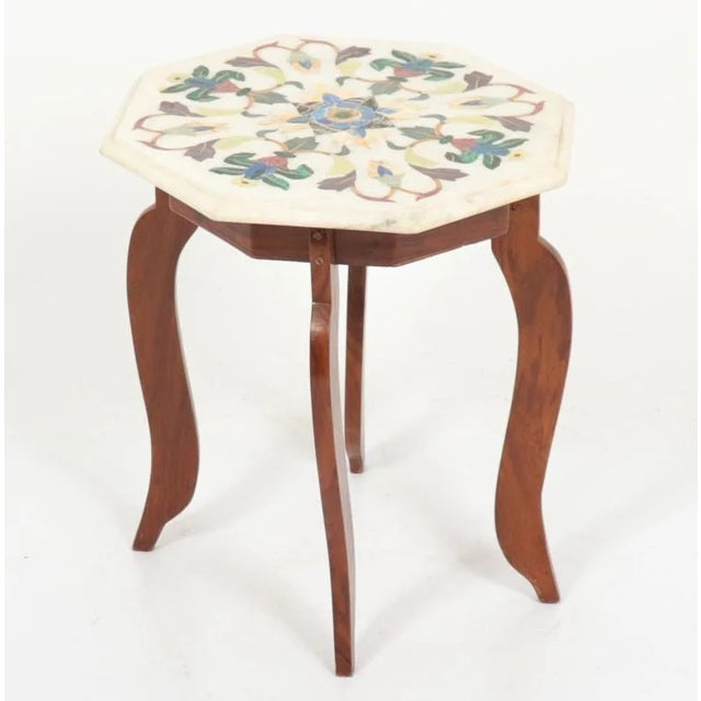 Vintage Hardstone Inlaid Marble Top Octagonal Side Table For Sale - Image 12 of 12