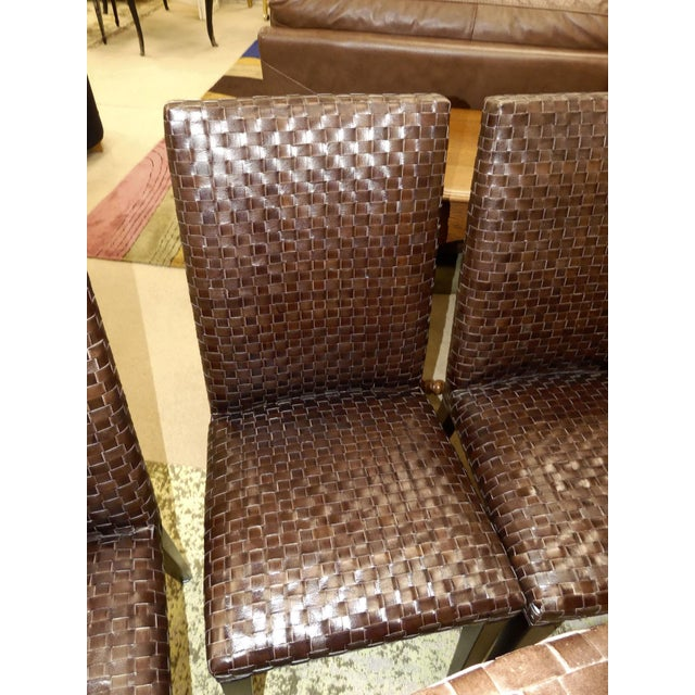 2010s Stone International Modern Italian Woven Leather Dining Chairs- Set of 4 For Sale - Image 5 of 13
