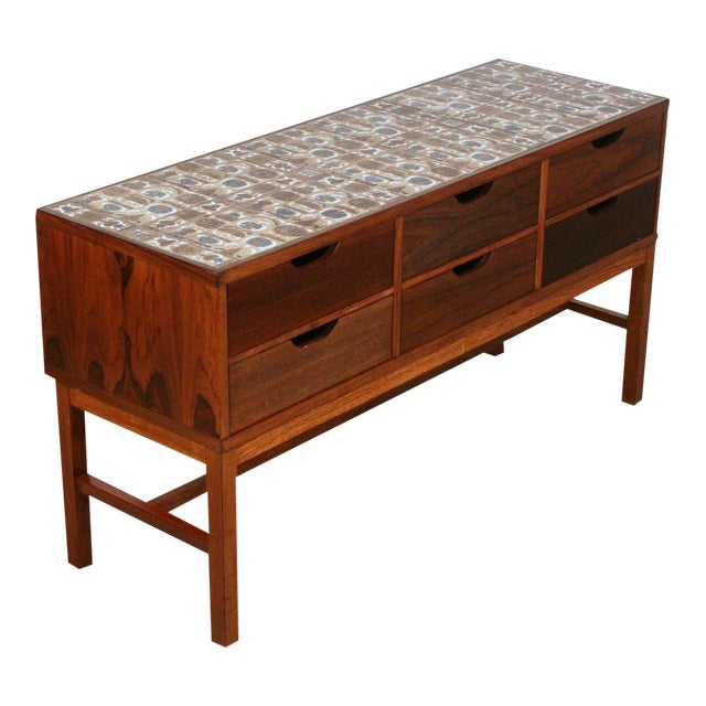 Severin Hansen Vintage Danish Rosewood and Royal Cph Tile Chest of Drawers For Sale