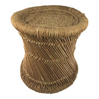 1970's Boho Chic Woven Rush Fiber and Reed Stool For Sale