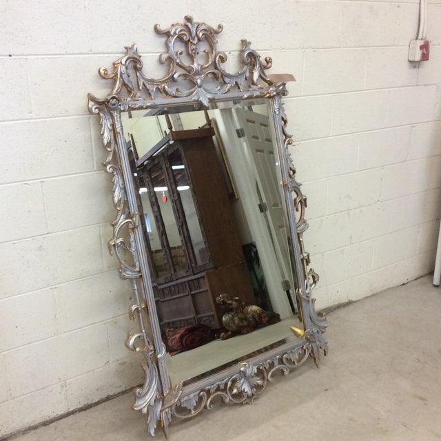 Hollywood Regency Large Silver and Gold Leaf Mirror For Sale - Image 3 of 13