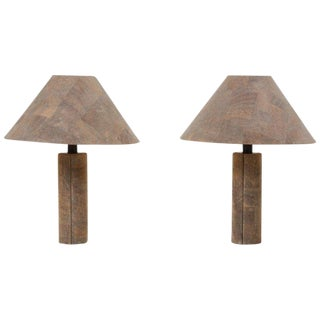 Pair of Table Lamps in Cork by Ingo Maurer, Germany, 1970s For Sale