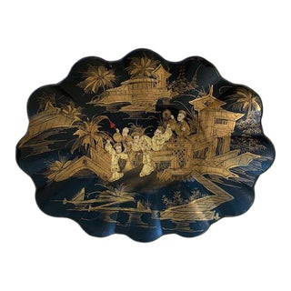 1920s Scalloped Black Lacquer and Chinoiserie Papier Mache Tray For Sale