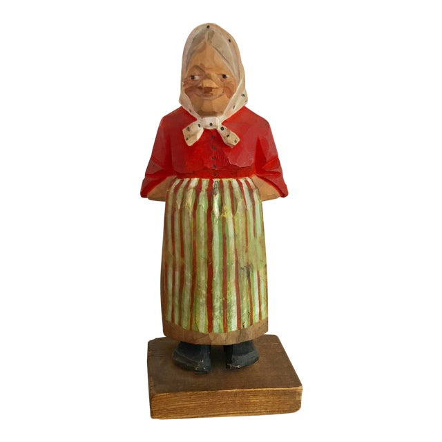 Vintage Signed Hand-Painted Wooden Grandma Figurine For Sale