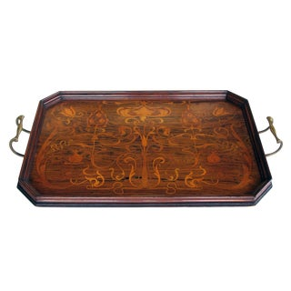 Finely Inlaid French Art Nouveau Rosewood Rectangular Tray With Canted Corners For Sale