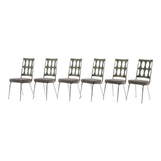 Set of Six Chrome Craft Dining Chairs, Gray Acrylic Backs and New Velvet Seats For Sale