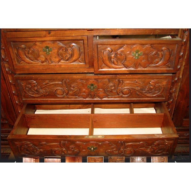 Antique Hand-Carved Italian Revival Armoire - Image 9 of 10