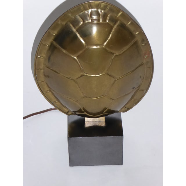 Gold Chapman Mid-Century Modern Table Shelf Lamp with Turtle Shell Brass Shade 1978 For Sale - Image 8 of 10