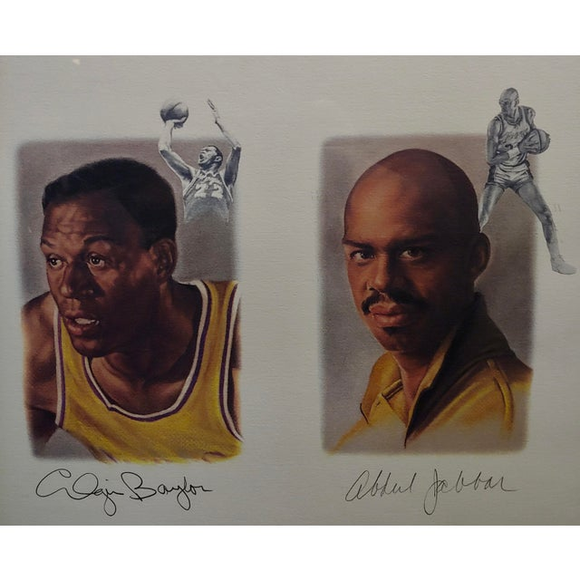 1980s Los Angeles Lakers -Legends-Magic,West,Jabbar,Chamberlain-Signed Lithograph For Sale - Image 5 of 11