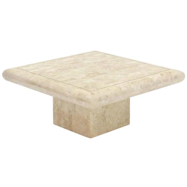1970s Minimalist Tessellated Stone Coffee Table For Sale