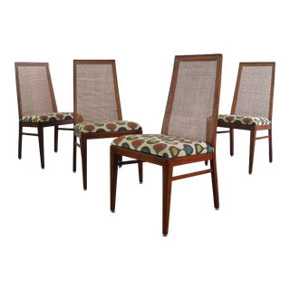 Set of 4 Cane Back Dining Chairs by Foster Mcdavid in Walnut For Sale