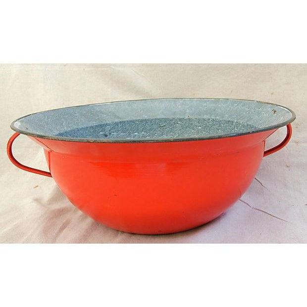 Jumbo Red European Enamelware Harvest Bowl - Image 4 of 8