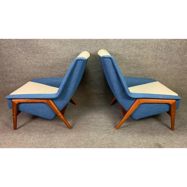 "Wood Pair of Vintage Scandinavian Modern Teak ""Profil"" Lounge Chairs by Folke Ohlsson for Dux of Sweden. For Sale - Image 7 of 11"