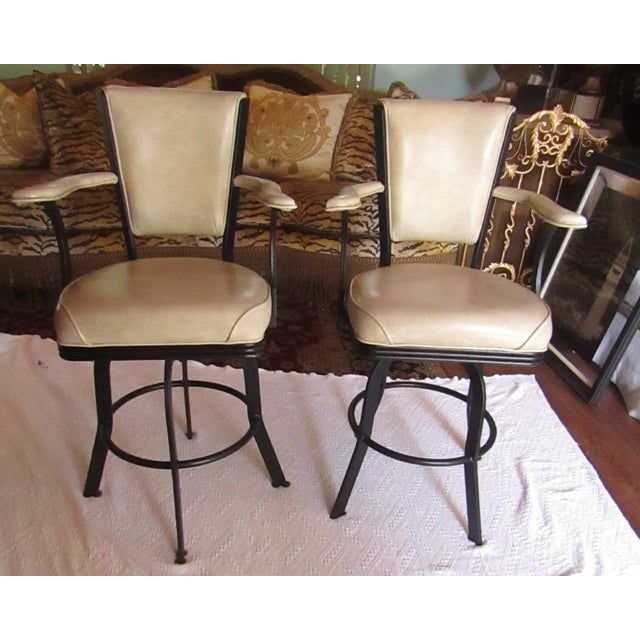 Brown Industrial Style Iron and Pleather Swivel Bar Stools - a Pair For Sale - Image 8 of 8