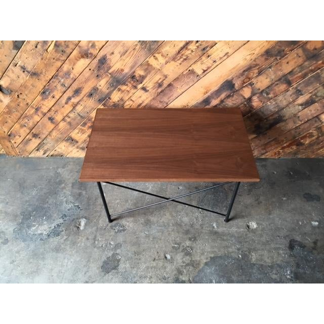 Custom Mid Century Style Walnut Wrought Iron Side Coffee Table For Sale In Los Angeles - Image 6 of 6