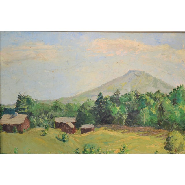 Framed Mountain Farm Landscape Painting For Sale - Image 5 of 7