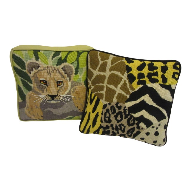 1970's Safari Motif Hand Stitched Needlepoint Pillows - a Pair For Sale