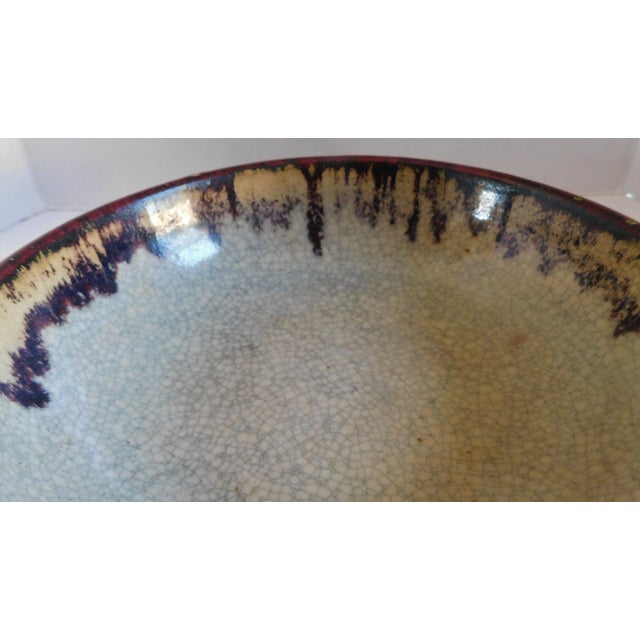 Vintage Claret and Taupe Heavy Glazed Pottery Bowl For Sale - Image 11 of 13