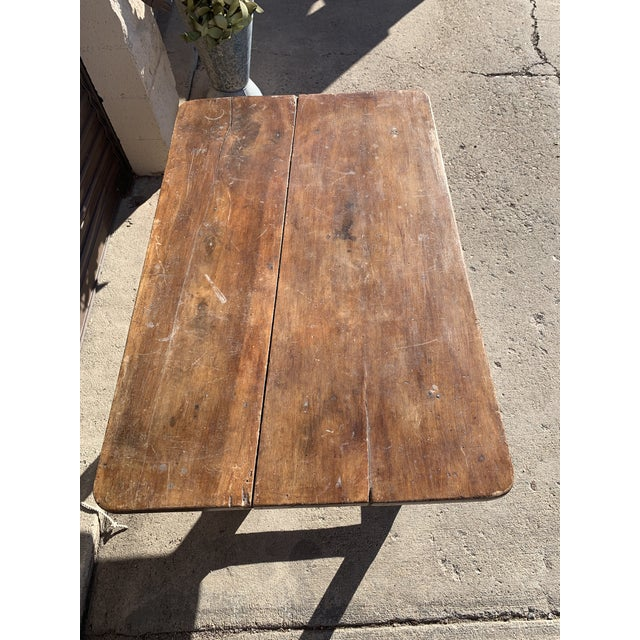 Rustic French Fruitwood Table With Stretchers For Sale - Image 9 of 13