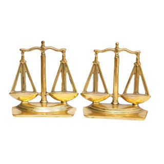 Scales of Justice Brass Book Ends - a Pair