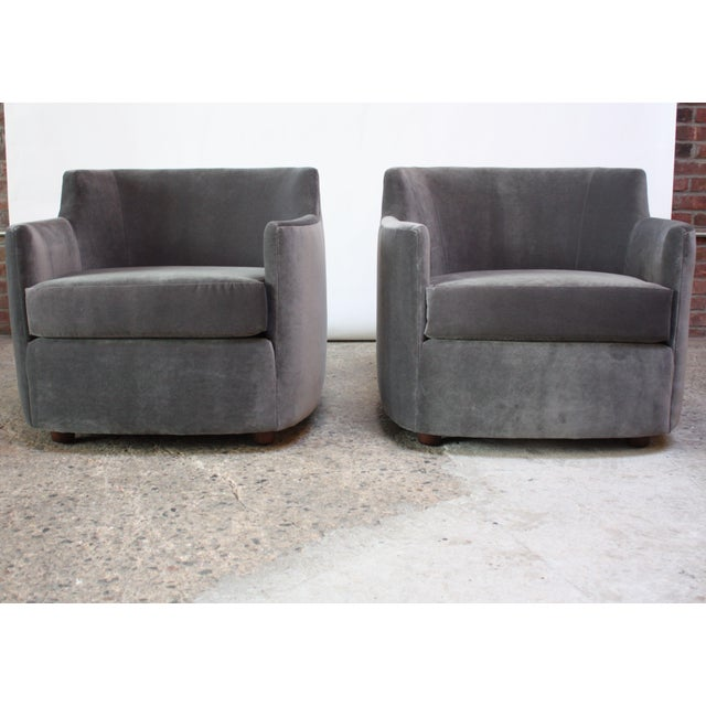 Mid-Century American Modern Tub Chairs in Mohair and Velvet For Sale - Image 11 of 13