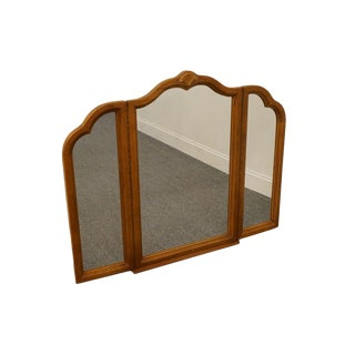 Late 20th Century Vintage Lexington Victoriana Series Solid Oak Tri-Fold Dresser Mirror For Sale