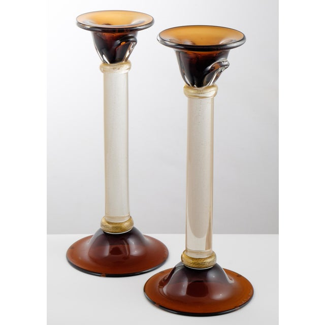 Italian Murano Amber & Avventurina Glass Candles Holders - A Pair For Sale - Image 3 of 10