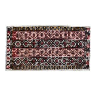 Hand-Woven Braided Small Rug Turkish Jajim Kilim - 21″ × 39″ For Sale
