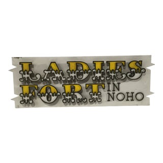 """Mid-Century James Spencer Russell """"Ladies Fort in NoHo"""" Wood Sign For Sale"""