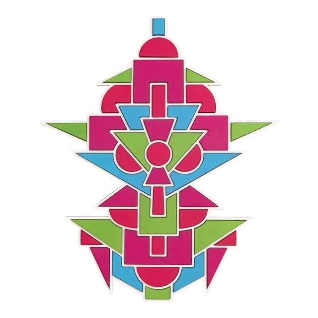 Contemporary Blue Green & Pink Artist Proof Puzzle by Chad Wentzel Made For Sale