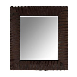 Laser Cut Zebra Patten Cowhide Mirror in Dark Brown For Sale