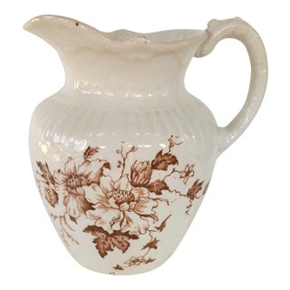 Antique English Brown Transferware Pitcher For Sale