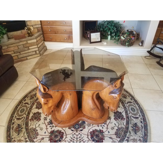 Hand Carved Horse Head Coffee Table For Sale - Image 10 of 13