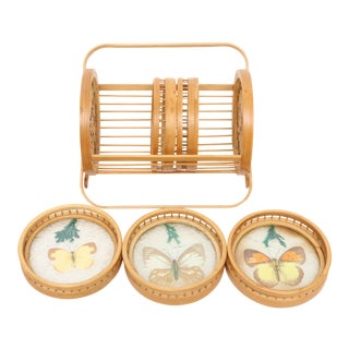 Vintage bamboo butterfly coaster with holder - Set of 5