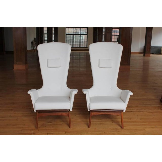 Sculptural High Back Lounge Chairs by Adrian Pearsall. New velvet upholstery.