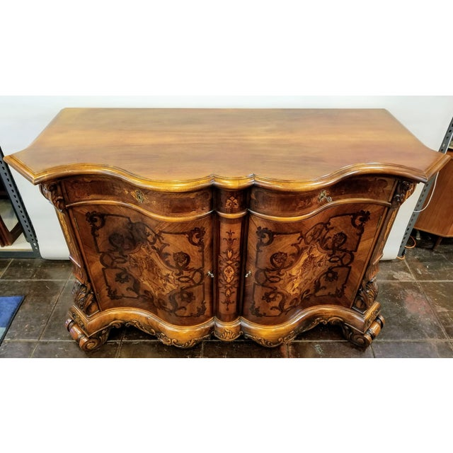 Northern Italian Baroque Style Serpentine Intarsia Sideboard For Sale - Image 9 of 13