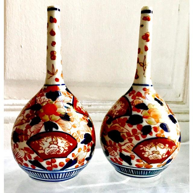 Rare Antique 19th Century Meiji Imari Long Neck Bottle Vases A