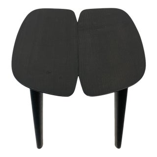 Ronan & Bourallec Solid Black Wood Osso Low Stool For Sale