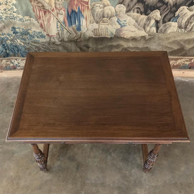 Brown 19th Century French Henri II Walnut Writing Table For Sale - Image 8 of 13