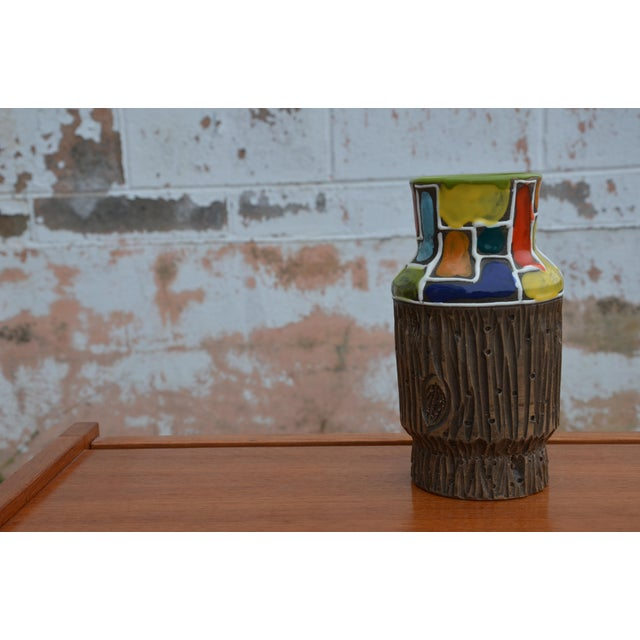 Raymor Bitossi for Raymor Mondrian & Wood Themed Vase For Sale - Image 4 of 10