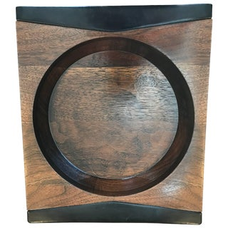 Mark Cross Walnut and Leather Vide-Poche For Sale