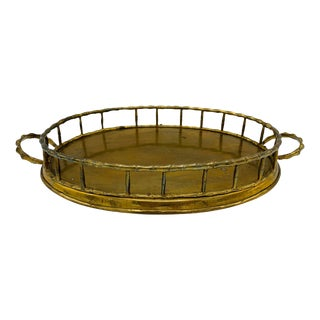 1970s Italian Mottahedeh Brass Faux Bamboo Tray For Sale