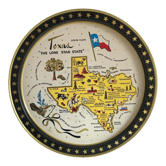 Vintage 1960 Texas Tin Tray For Sale