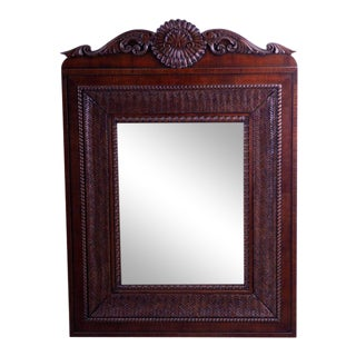 1980s Ralph Lauren Wood & Rattan Mirror For Sale