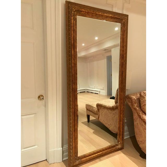 Modern Gold Leaf Floor Antique Mirror For Sale - Image 3 of 3