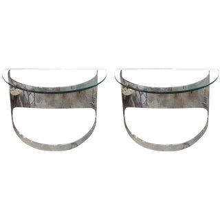 Pair of Polished Steel Console Tables by Paul Jones For Sale