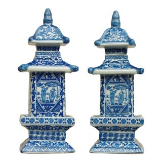 Blue & White Chinoiserie Pagoda Jars - A Pair
