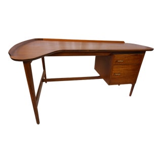 Arne Vodder Danish Modern Boomerang Teak Desk For Sale
