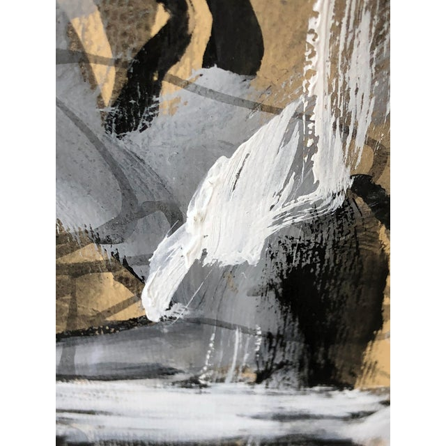 with quick spontaneous brush strokes using nonrepresentational shapes in black, gray and white paints on a sepia ground;...