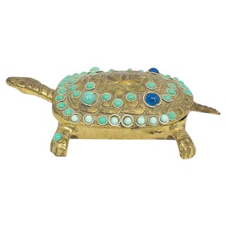Brass Cabochon Turtle Box